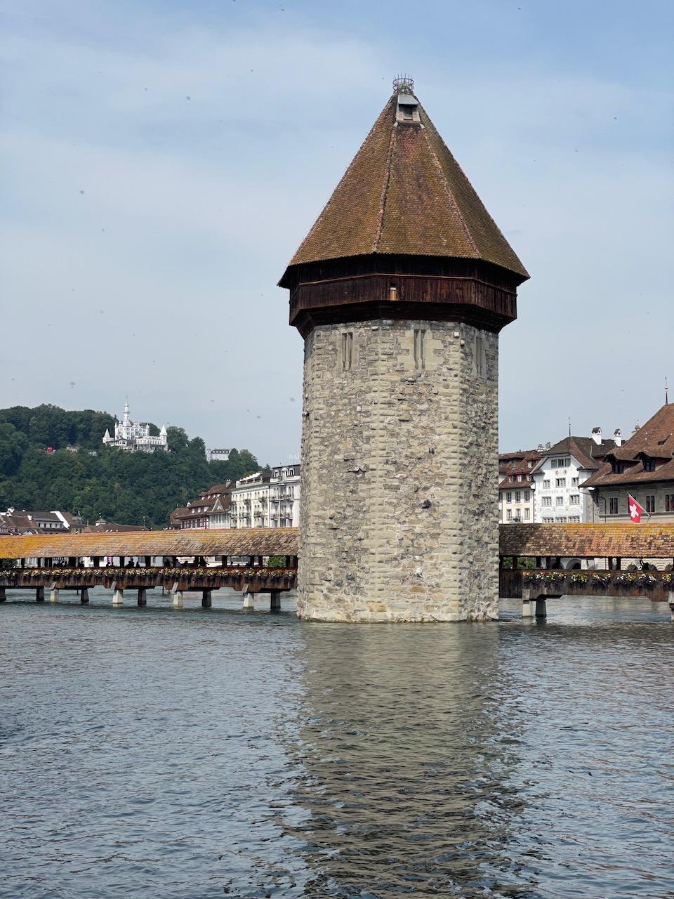 Kapellbrücke (Chapel Bridge) covered wooden footbridge spanning the river Reuss diagonally in the city of Lucerne in central Switzerland
