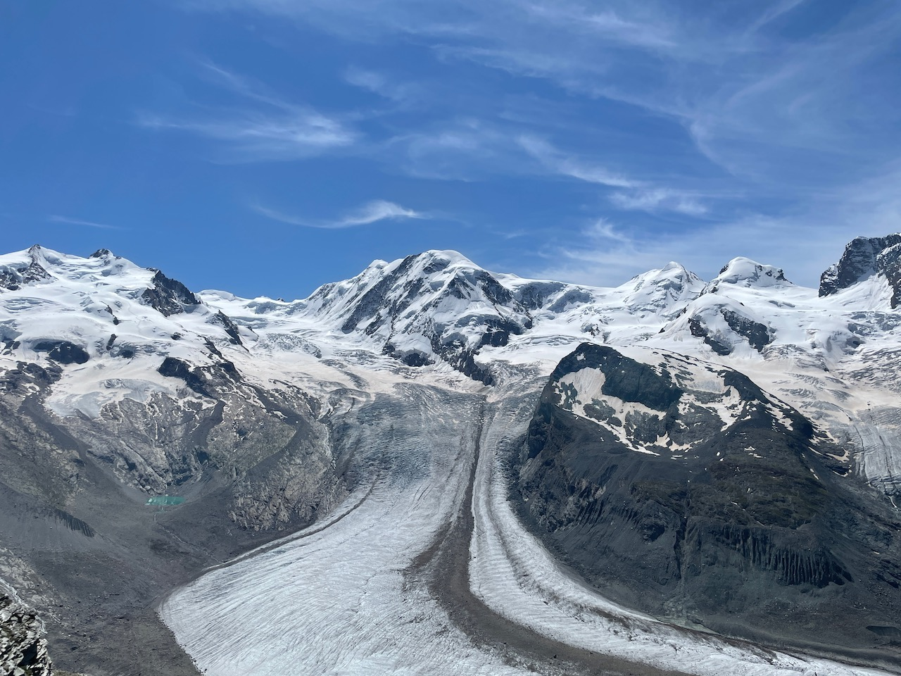 At the top of the Gornergrat looking at the Glacier during summer